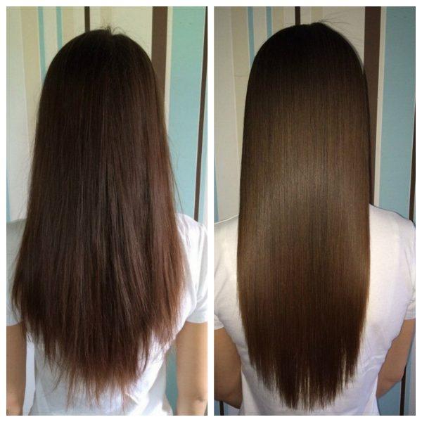 ламинирование на темные волосы до и после