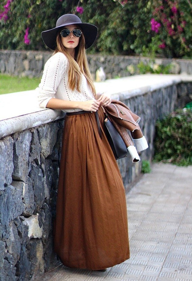 blanco dark brown zara burnt orangelook main single 5 идей, как носить юбки зимой  и не замерзнуть