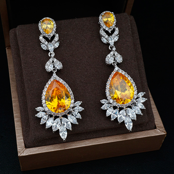 wholesale Citrine zircon water drop dangle earring great design AAA lemon yellow cubic zirconia fashion earring Магические свойства циркона