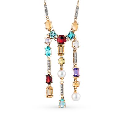 Золотое колье с бриллиантами, жемчугом, топазами, аметистами и кварцем (28 495 р. с учетом скидки)