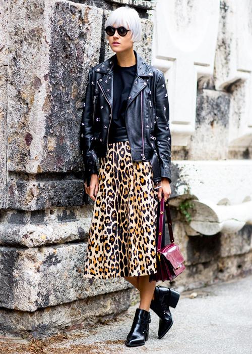 Кожаная куртка «ударная доза» леопарда Носим кожаные куртки, как крутые девчонки