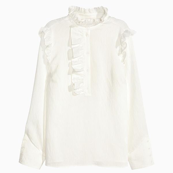 Блуза с воротником жабо HM  6 самых модных блузок осени