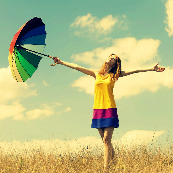mood girl dress color hands smile summer umbrella umbrella happiness freedom freedom openness warmth plants nature field sun sky clouds background freedom Как избавиться от негативных мыслей?