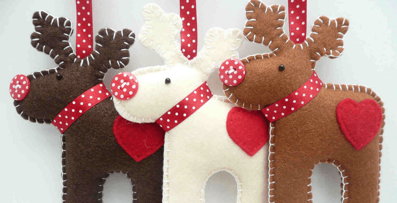 -1 Новогодние игрушки на елку своими руками из фетра — выкройки для фетровых елочных украшений