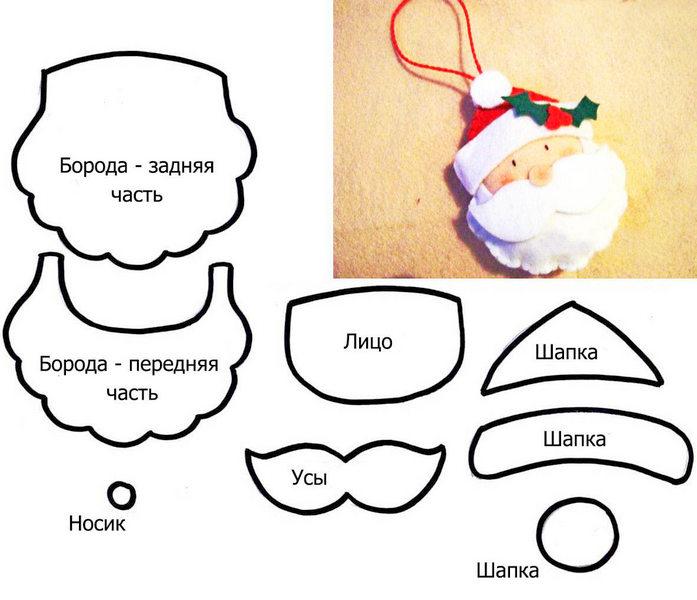 vykroyka-santa-klausa-iz-fetra-1 Елка из фетра своими руками: выкройки, фото, мастер классы