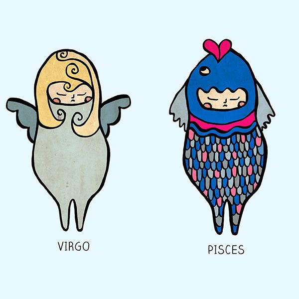 Парень-Девы и девушка-Рыбы в сексе