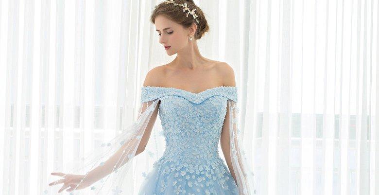 8e331ba6365 Голубые свадебные платья — фото платьев невесты нежно-голубого цвета ...