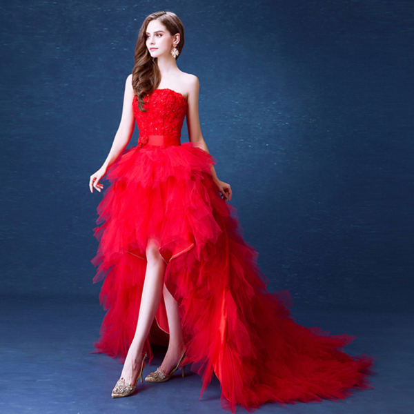 Красное свадебное платье с открытыми ногами