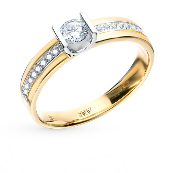 золотое кольцо с бриллиантами санлайт
