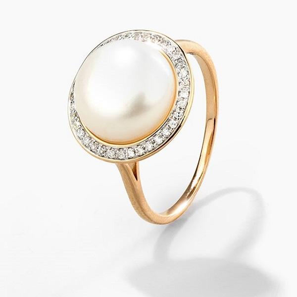 золотое кольцо с жемчугом и бриллиантом санлайт