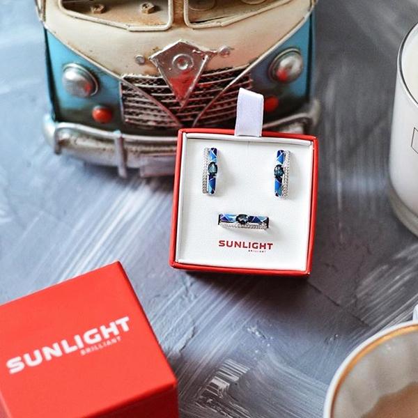 кольцо и серьги санлайт в подарок
