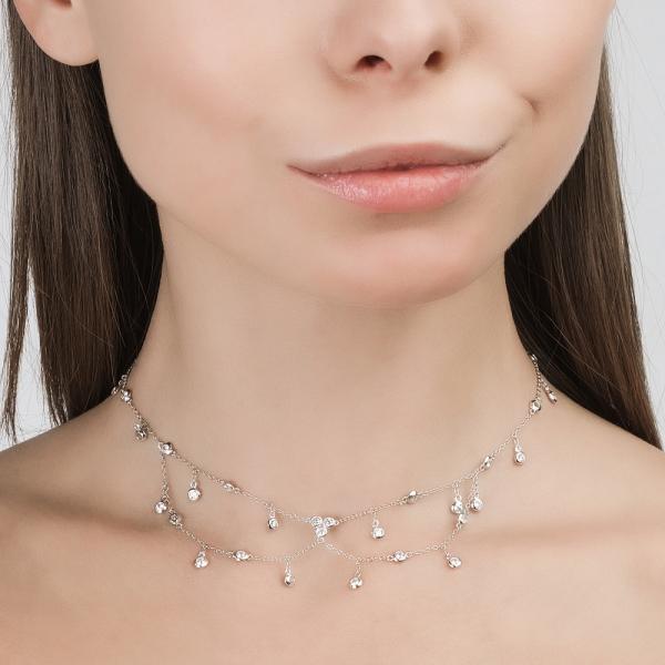 Серебряное шейное украшение с фианитами санлайт