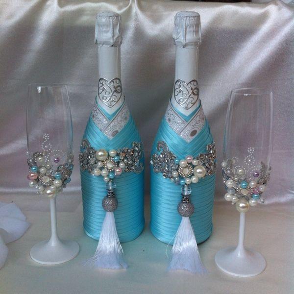 sunmag-5-foto-ukrasheniya-butylok-na-svadbu-svoimi-rukami Декупаж бутылки шампанского: свадебные своими руками, пошаговое фото, технику как сделать, МК как украсить
