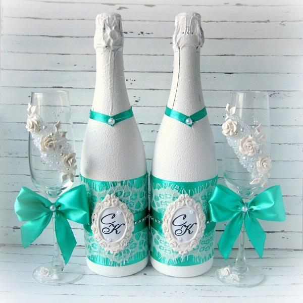 sunmag-7-butylki-oformlennye-na-svadbu-svoimi-rukami Декупаж бутылки шампанского: свадебные своими руками, пошаговое фото, технику как сделать, МК как украсить