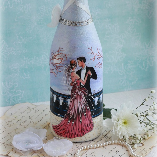 Свадебные бутылки с открытками декупаж, днем рождения подруге