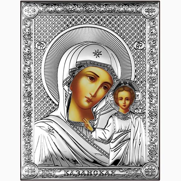 Икона Казанская Богородица, серебряная, на дереве