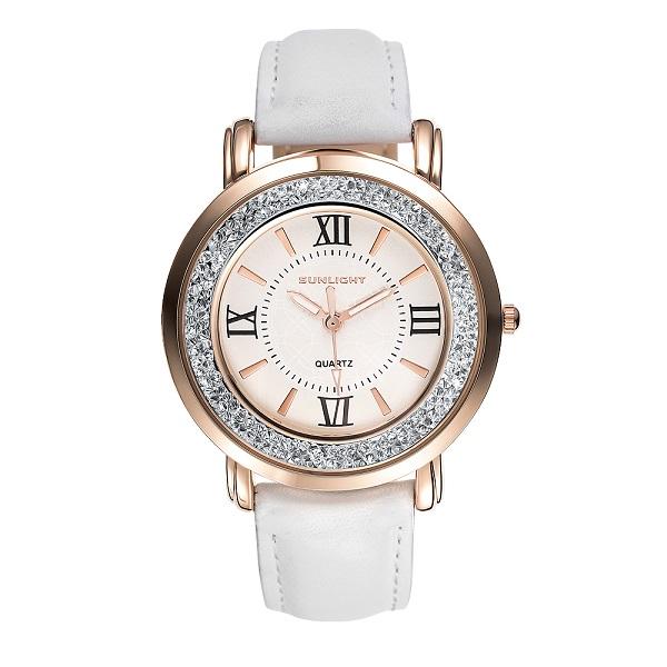 Женские часы с кристаллами на кожаном ремне санлайт
