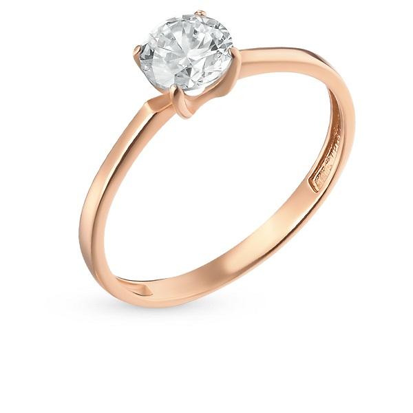 Золотое кольцо с фианитами санлайт