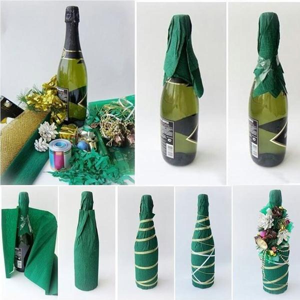 обернуть бутылку в упаковочную бумагу