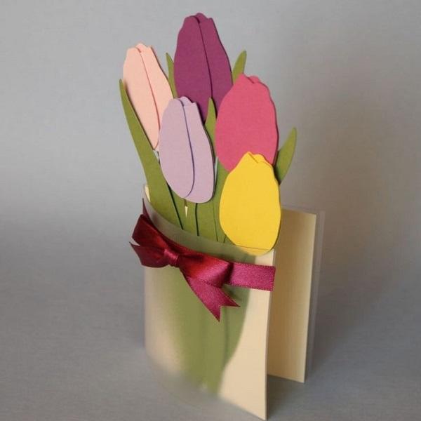 Открытки, как сделать тюльпан открытка